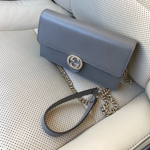 368aed80d Gucci Bags | Gg Grey Leather Crossbody Chain Wallet | Poshmark